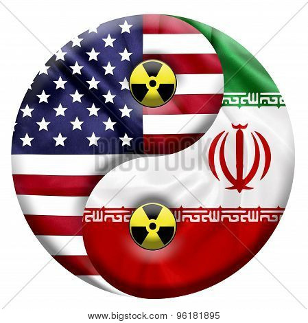Flags of United States and Iran with Nuclear icon