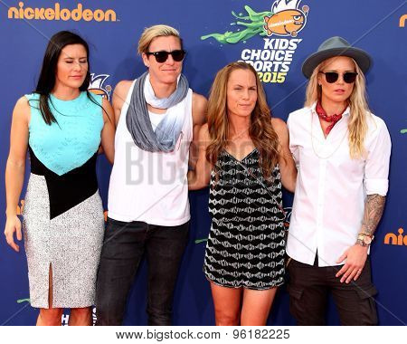 LOS ANGELES - JUL 16:  Ali Krieger, Abby Wambach, Christie Rampone, Ashlyn Harris at the 2015 Kids' Choice Sports at the UCLA's Pauley Pavilion on July 16, 2015 in Westwood, CA
