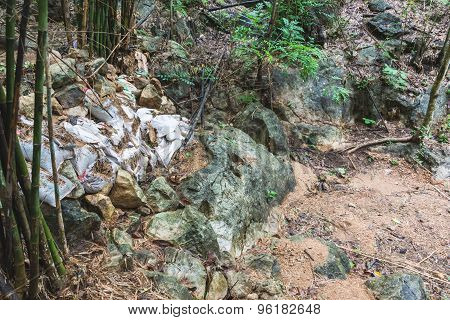 The Ruined Small Dam In The Forest Of Thailand