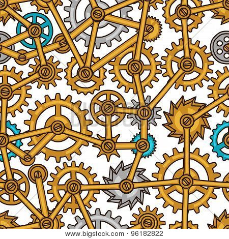 Steampunk seamless pattern of metal gears in doodle style