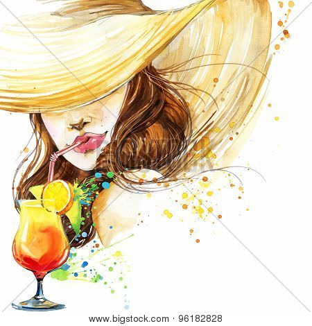 beautiful young woman with fruit cocktail. Girl and beach cocktail party. cocktail party poster back