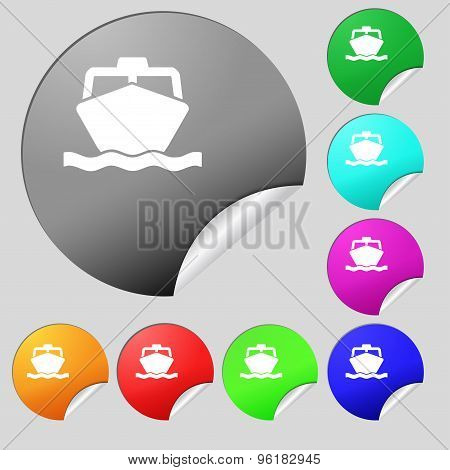 The Boat Icon Sign. Set Of Eight Multi Colored Round Buttons, Stickers. Vector