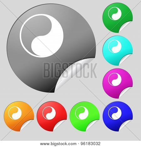 Yin Yang Icon Sign. Set Of Eight Multi Colored Round Buttons, Stickers. Vector