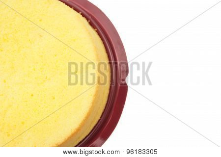 Top View Home Made Round Sponge Cake On White With Clipping Path And Copy Space