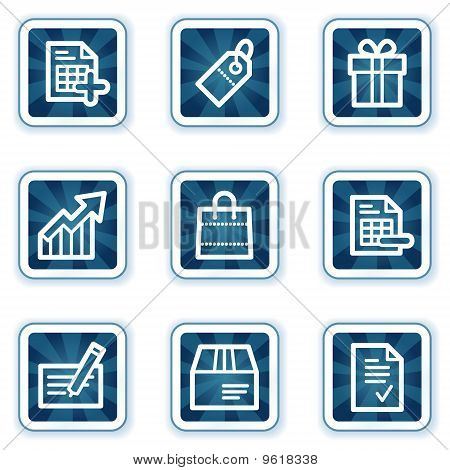 Shopping Web Icons  Navy Square Buttons