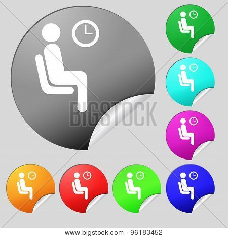 Waiting Icon Sign. Set Of Eight Multi Colored Round Buttons, Stickers. Vector