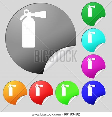 Extinguisher Icon Sign. Set Of Eight Multi Colored Round Buttons, Stickers. Vector