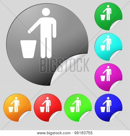 Throw Away The Trash Icon Sign. Set Of Eight Multi Colored Round Buttons, Stickers. Vector
