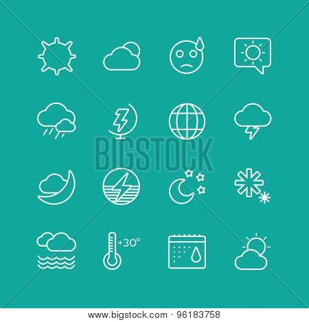 Weather Icons Vector Set. Clouds, Sky or Wind and Interface Elements symbols. Stocks Design Element