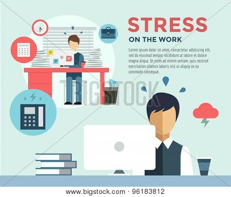 New Job after Stress Work infographic. Students, Stress, Clerk and Professions. Vector stocks illustration for design