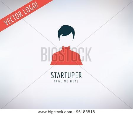 Startup business creation logo. Leader, Business, Idea and Up with new team. Vector stock illustrations for design