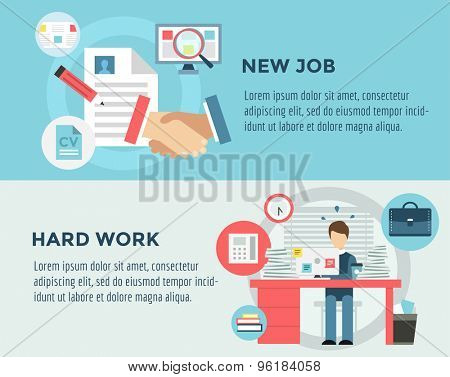 New Job after Hard Work infographic. Students, Stress, Clerk and Professions. Vector stocks illustration for design