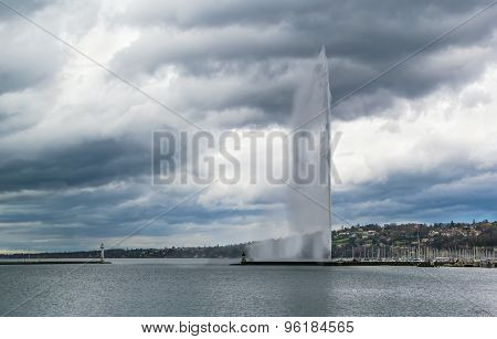 View Of Geneva Lake With Fountain, Switzerland
