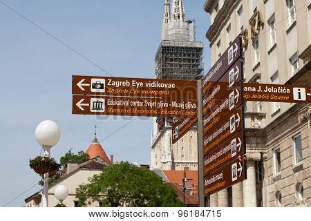 Zagreb guidepost at Ban Jelacic Square in Zagreb, Croatia