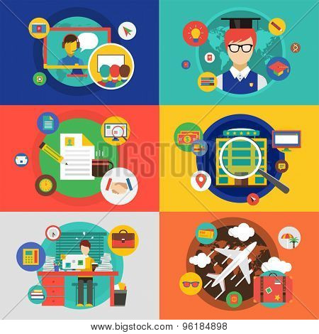 Vector infographic objects set. Startup, Travel, School and office. Stock illustrations for design