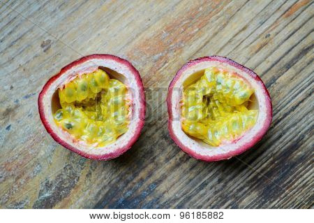 Passionfruit on a wooden table