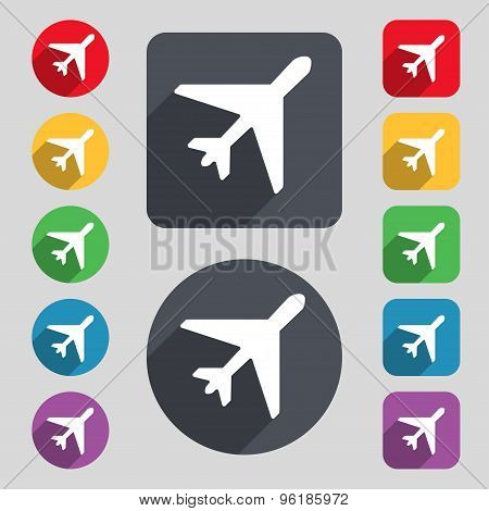 Airplane Icon Sign. A Set Of 12 Colored Buttons And A Long Shadow. Flat Design. Vector