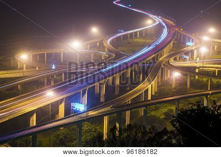 Architecture of highway construction with beautiful curves in daytime in Taiwan Asia.