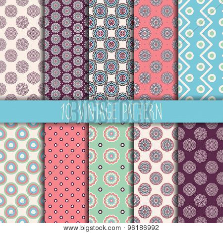 Seamless patterns. Vintage decorative elements. Hand drawn background. Islam, Arabic, Indian, ottoma