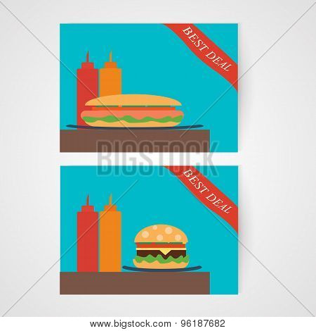 Banners with hamburger and hotdog