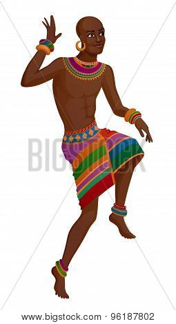 Ethnic Dance Of Cartoon African Man