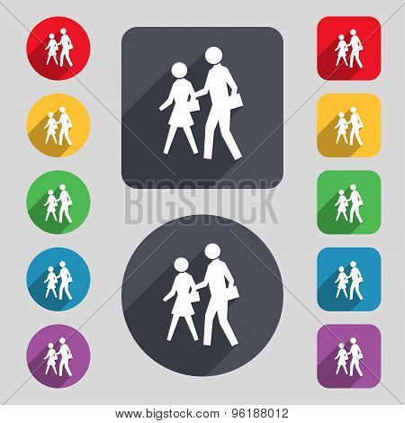 Crosswalk Icon Sign. A Set Of 12 Colored Buttons And A Long Shadow. Flat Design. Vector