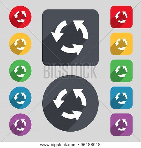 Refresh Icon Sign. A Set Of 12 Colored Buttons And A Long Shadow. Flat Design. Vector