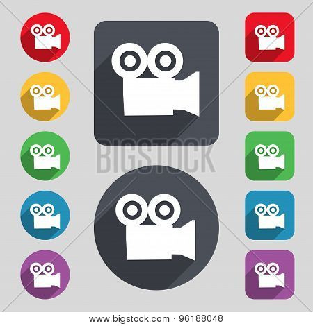 Video Camera Icon Sign. A Set Of 12 Colored Buttons And A Long Shadow. Flat Design. Vector