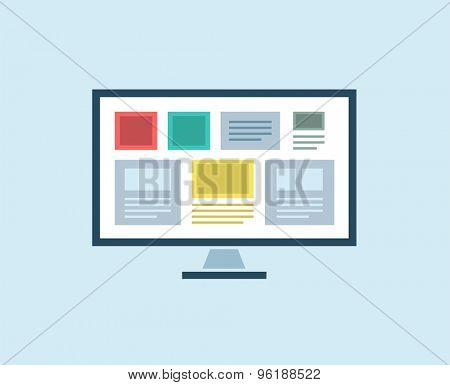 Flat Computer vector icon isolated. PC object, or technolofy and office symbol. Stock design element.