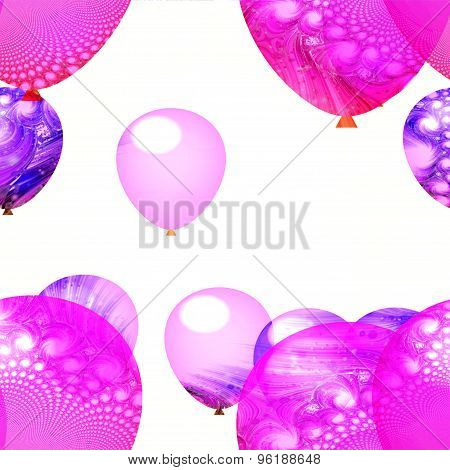 Pink white air party balloons ornamental background