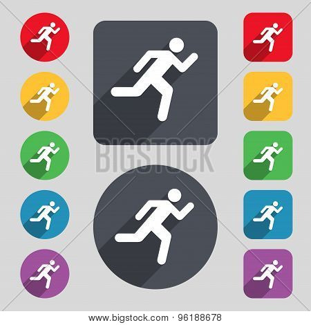 Running Man Icon Sign. A Set Of 12 Colored Buttons And A Long Shadow. Flat Design. Vector
