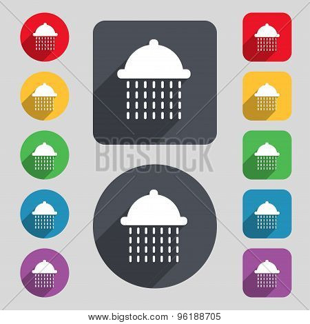 Shower Icon Sign. A Set Of 12 Colored Buttons And A Long Shadow. Flat Design. Vector