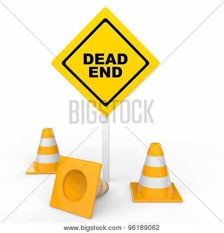 3d traffic cones and dead end sign