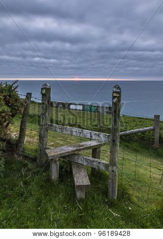 Wooden stile on the Welsh coastal path