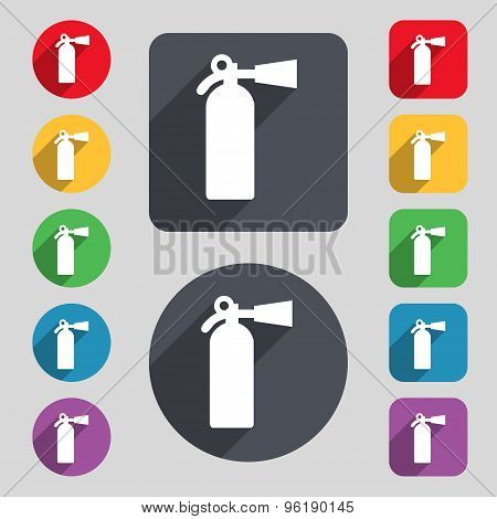Extinguisher Icon Sign. A Set Of 12 Colored Buttons And A Long Shadow. Flat Design. Vector