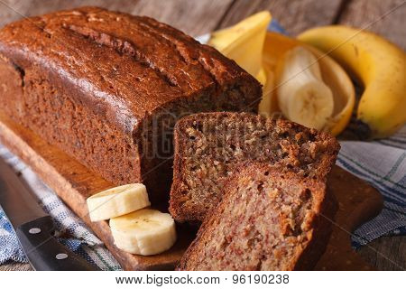 Delicious Freshly Baked Banana Bread On A Table Close-up. Horizontal