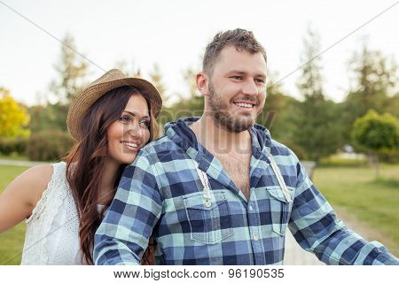 Beautiful young couple in love is spending time together
