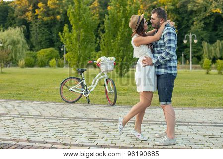 Cheerful young man and woman are dating