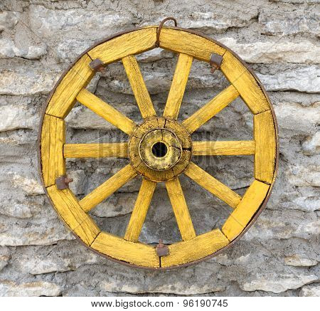 Old  Yellow Antique Wagon Wheel