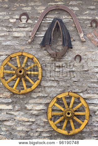 Old Antique Wagon Wheels, Harness Adn Horseshoe