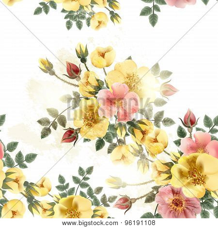 Floral Seamless Pattern With Roses In Retro Style
