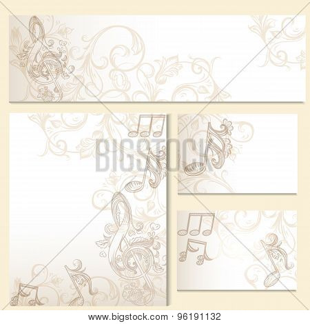 Corporate Identity Templates Or Wedding Invitation Cards With Ornament And Notes