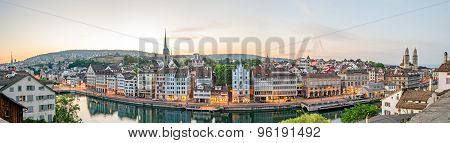 Zurich, Hd Panorama, Old Town And Limmat River At Sunrise, Switzerland