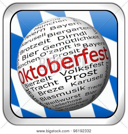 Oktoberfest wordcloud button - in german
