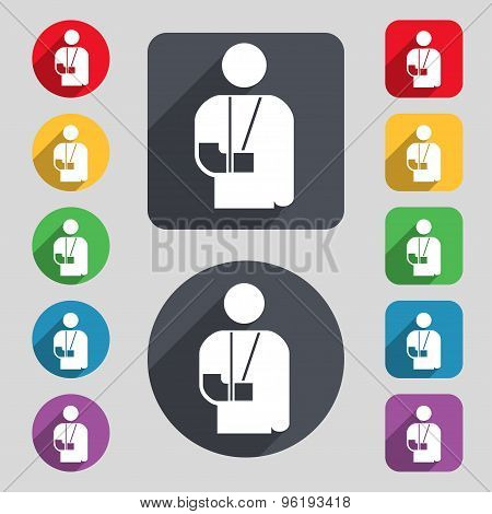 Broken Arm, Disability Icon Sign. A Set Of 12 Colored Buttons And A Long Shadow. Flat Design. Vector