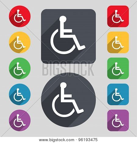 Disabled Icon Sign. A Set Of 12 Colored Buttons And A Long Shadow. Flat Design. Vector