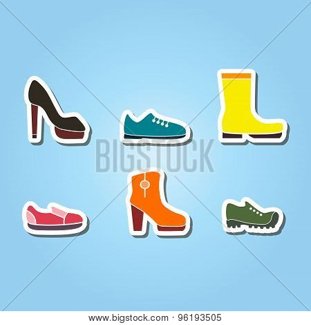 set of color icons with shoes
