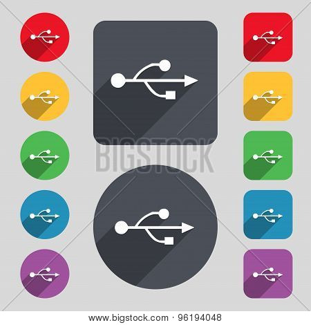 Usb Icon Sign. A Set Of 12 Colored Buttons And A Long Shadow. Flat Design. Vector