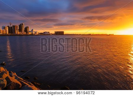 Midsummer sunset in Reykjavik