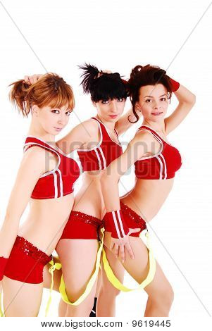 Three styled professional cheerleader.
